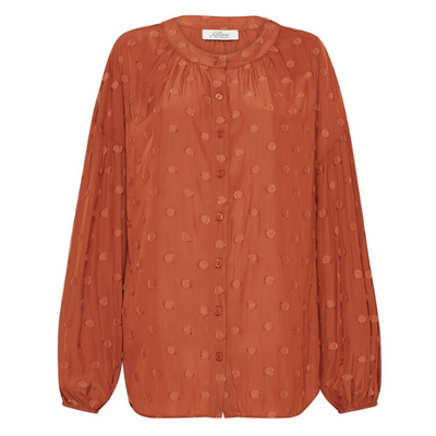 Claremont Jacquard Blouse - Burnt Orange