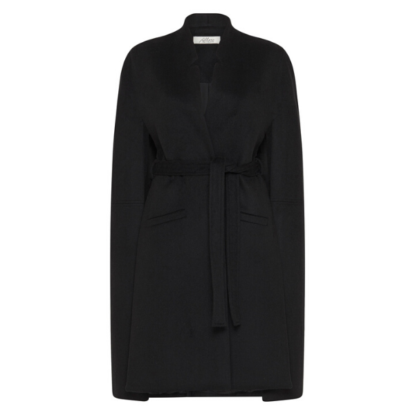 Victoria Longline Wool Cape - Black