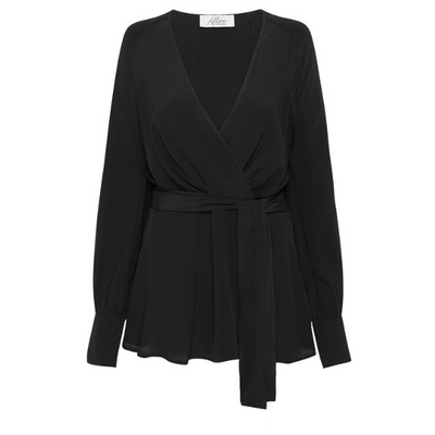 Delilah Wrap Blouse - Black