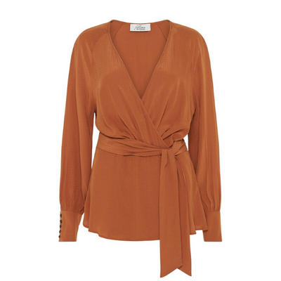 Delilah Wrap Blouse - Burnt Orange
