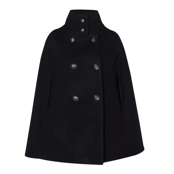 Black Wool Women's Cape Coat- Allora Capes