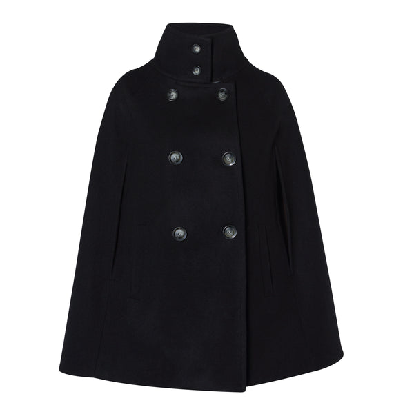 Black Wool and Cashmere Cape Jacket - Allora Capes