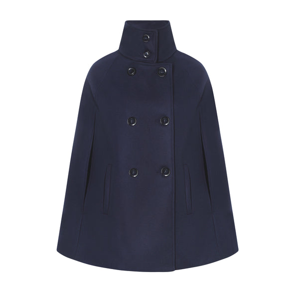 Navy Wool and Cashmere Women's Cape Coat - Allora Capes
