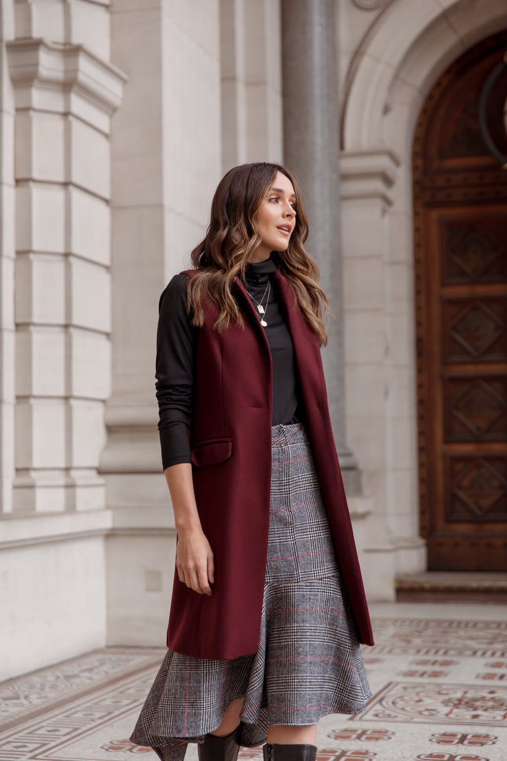 Sleeveless Wool Cashmere Coat - Bordeaux