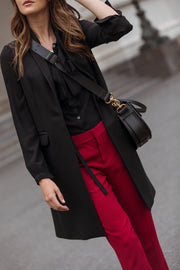 Sleeveless Wool Cashmere Coat - Black