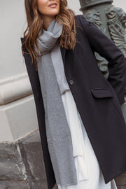 Oversized Knitted Wrap Scarf - Grey