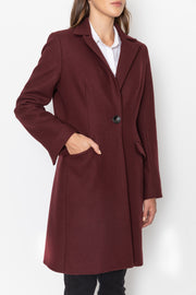 Tailored Wool Cashmere Coat - Bordeaux