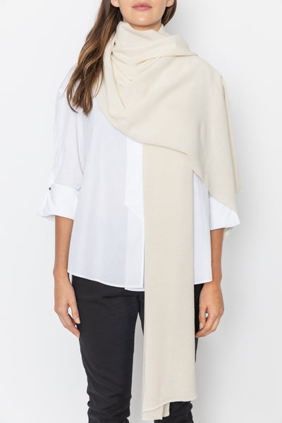Oversized Knitted Wrap Scarf - Cream