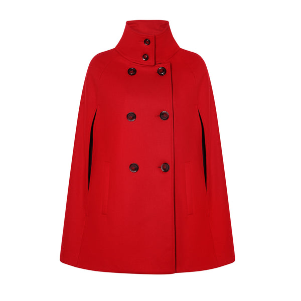 Red Wool Cape Jacket - Allora Capes