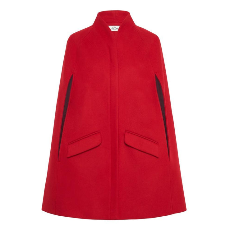 Chelsea Wool Cashmere Cape - Poppy