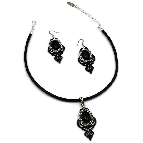 Leather cut outs jewelry set with choker and earrings, large black stones cabochons and silver frame, gothic victorian style