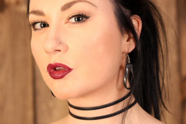 model wearing double stranded leather choker handmade by arthlin jewelry