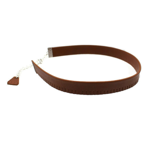 10mm Brown Fringed Leather Choker