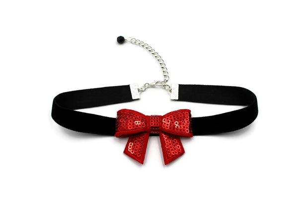 black leather choker with red sparkly bow extendable clasp with black glass bead accent handmade in USA by arthlin Jewelry