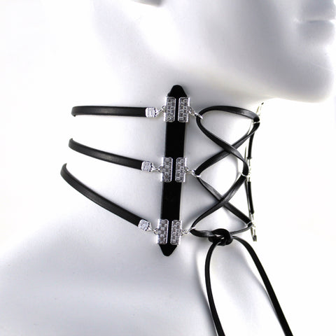 Leather Strands Neck Corset Choker