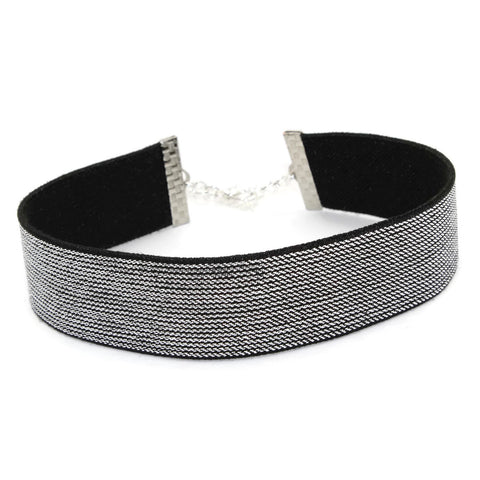 metallic arthlin silver choker necklace for women stretchy comfortable glamorous