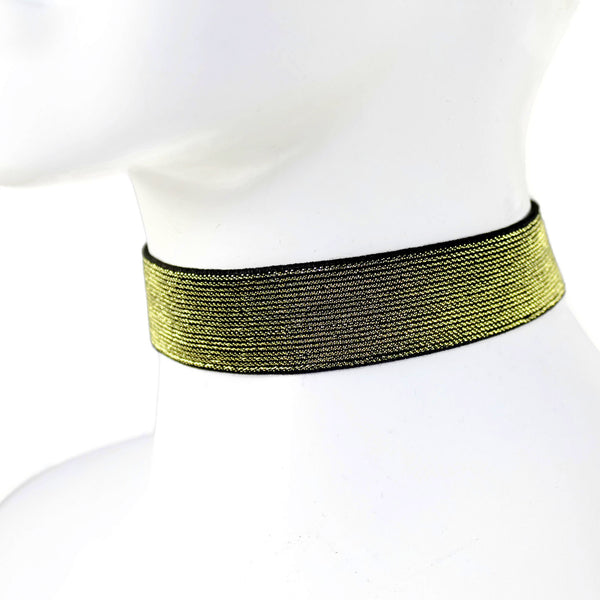 metallic arthlin gold golden choker necklace for women stretchy comfortable glamorous