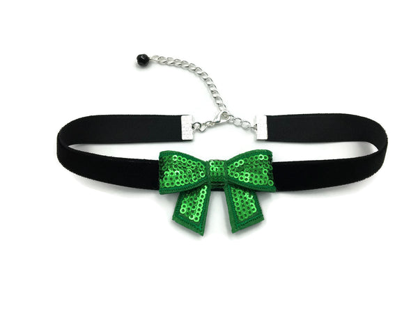 black leather choker with green sparkly bow adjustable clasp with black glass bead accent handmade in USA by arthlin Jewelry