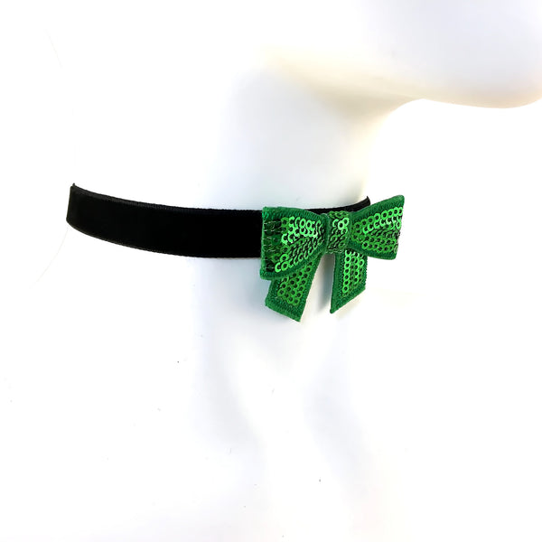 black leather choker with green sparkly bow handmade in USA by arthlin Jewelry