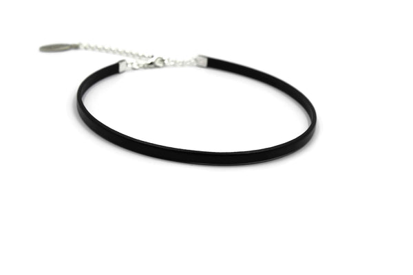 skinny thin black choker made of leather collar necklace arthlin jewelry llc maine made
