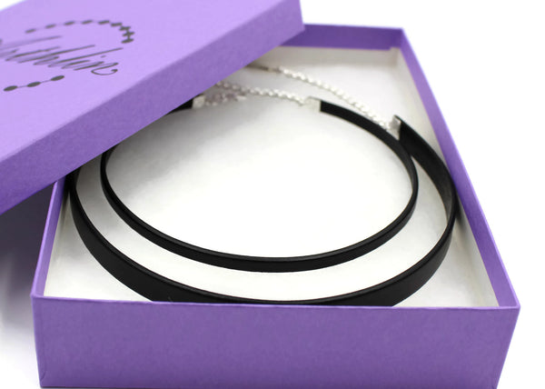 gift set of 5 mm and 10 mm black leather chokers in purple gift box arthlin jewelry