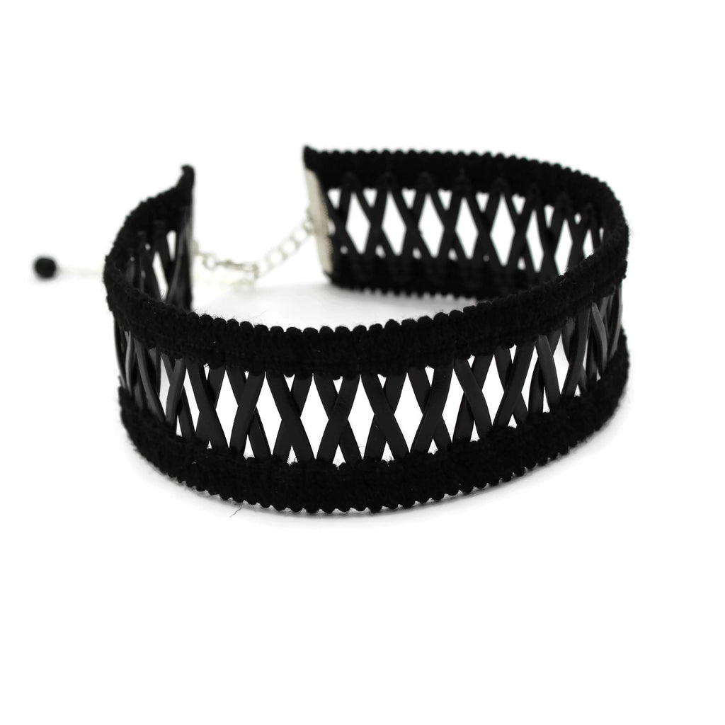 wide black criss-cross patterned choker, arthlin jewelry handmade in USA