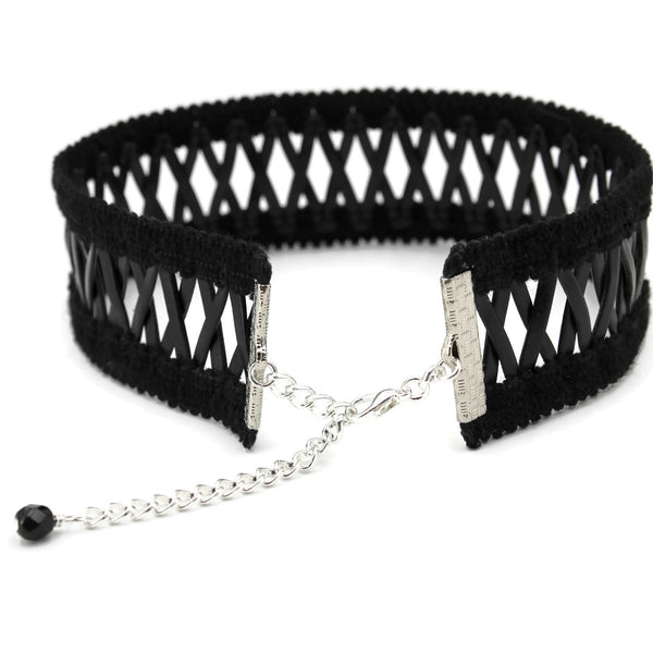 rear view of black criss-cross choker, adjustable length clasp, arthlin jewelry