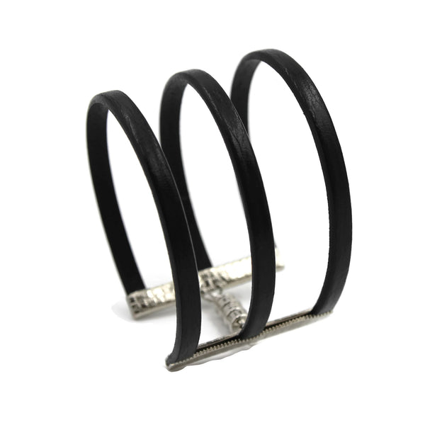 Triple Strands Black Leather Cuff