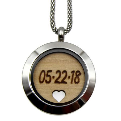 Personalized Engraved Pendant - Stainless Steel and Birch