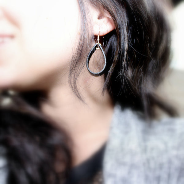 Wide Hoops Leather Earrings