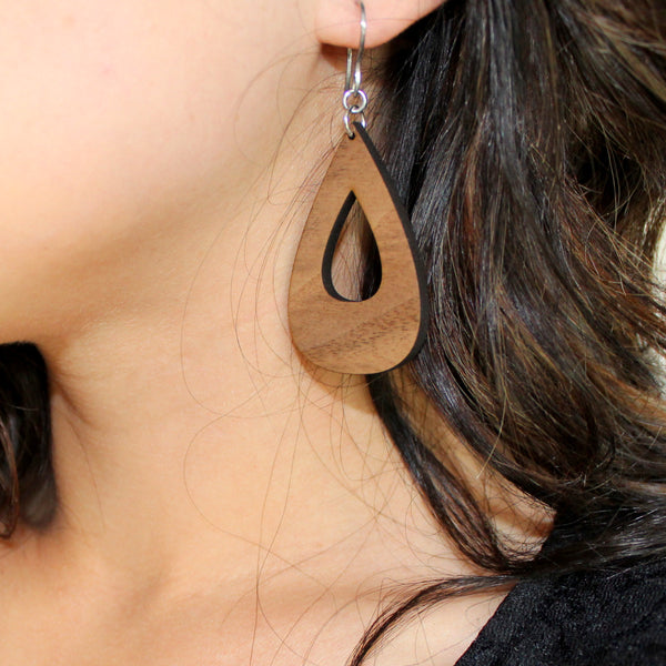 Hollow Teardrop Wooden Earrings (Color Options)