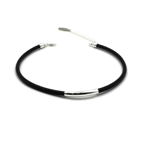 Round Leather Choker with Silver Slide
