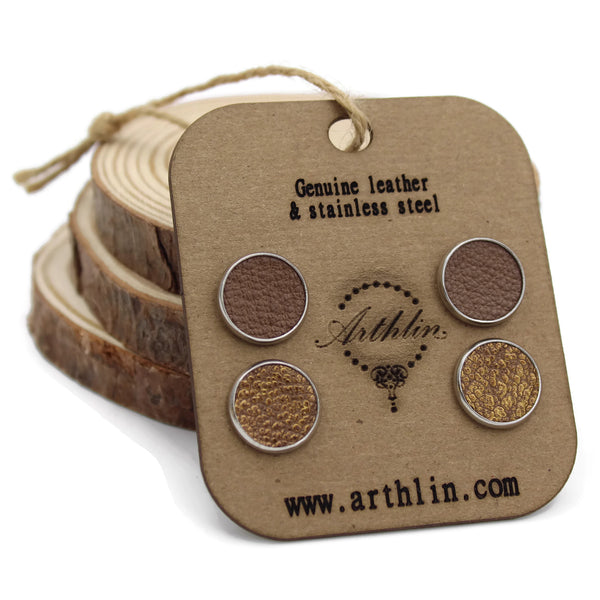 Gold and light brown leather stud earrings made in Maine by Arthlin Jewelry LLC