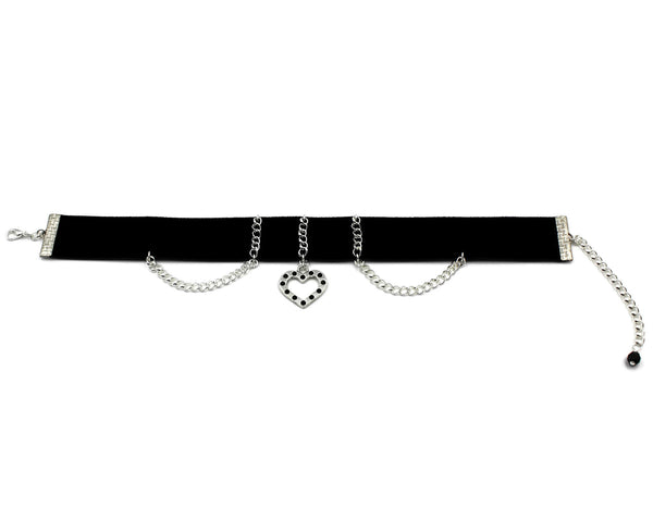 black velvet choker adorned with thin silver chain and silver open heart pendant with black beaded accents arthlin jewelry