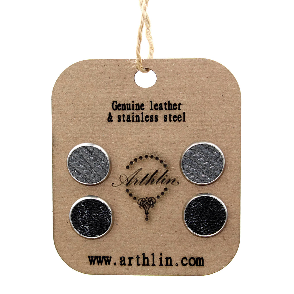 genuine leather studs earrings by Arthlin Jewelry LLC in Maine