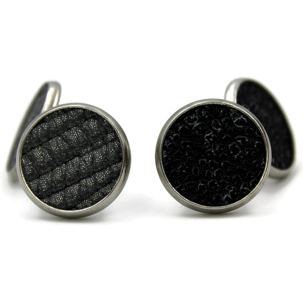 Duo of Leather Stud Earrings (Meteor)