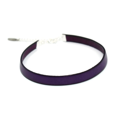 arthlin jewelry dark purple leather choker for women narrow