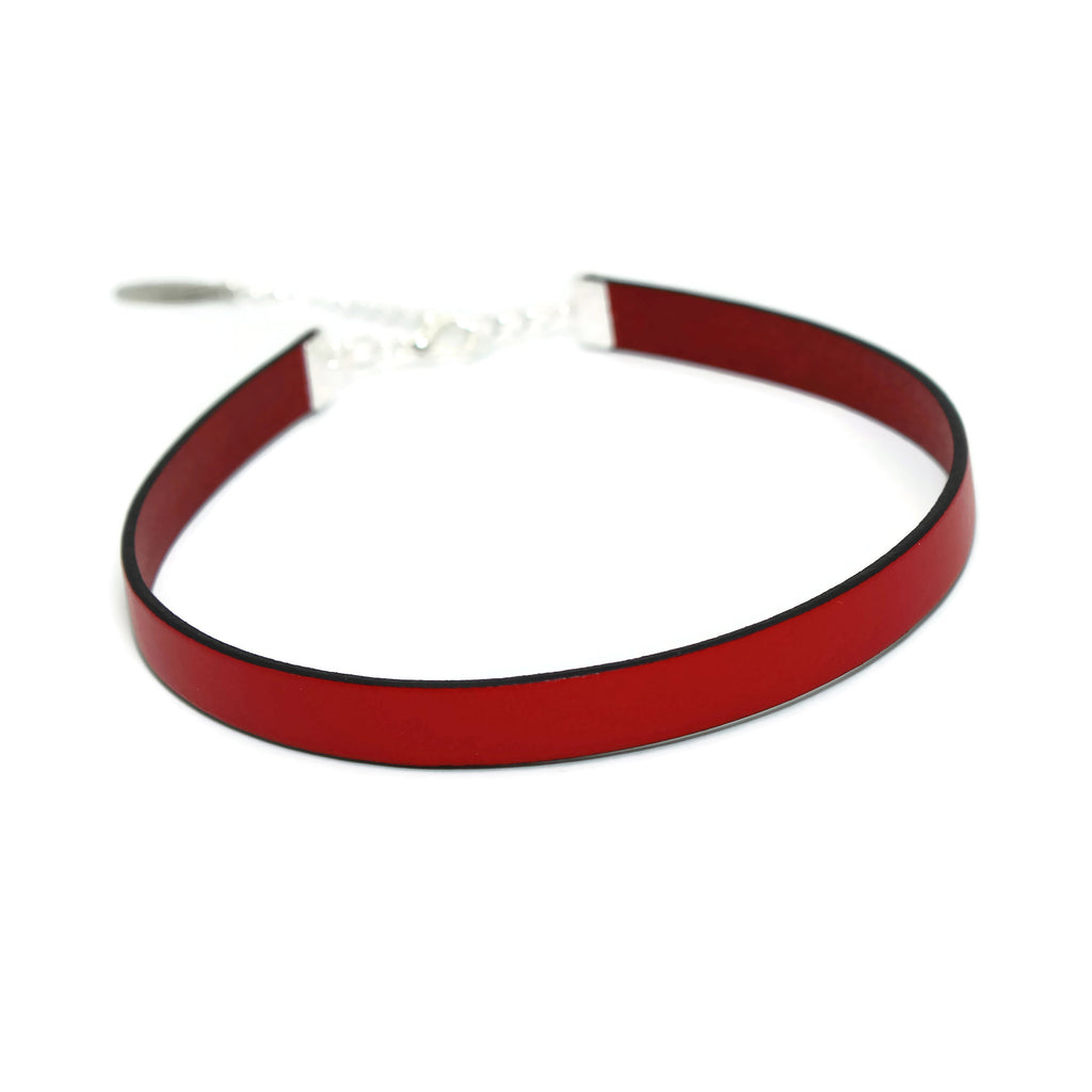 narrow red leather choker, handmade in US by Arthlin Jewelry LLC