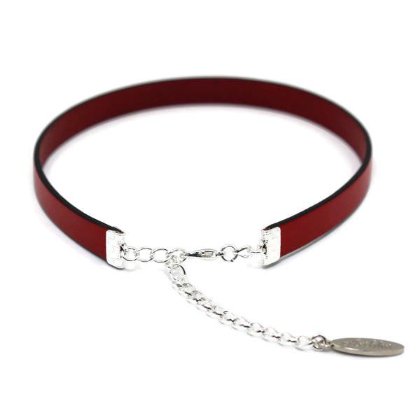 Silver adjustable length clasp on narrow red leather choker Arthlin Jewelry