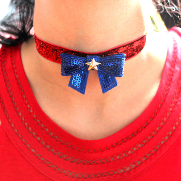 woman wearing patriotic usa attire outfit for 4th of july necklace choker