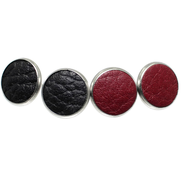 Duo of Leather Stud Earrings (Lava)