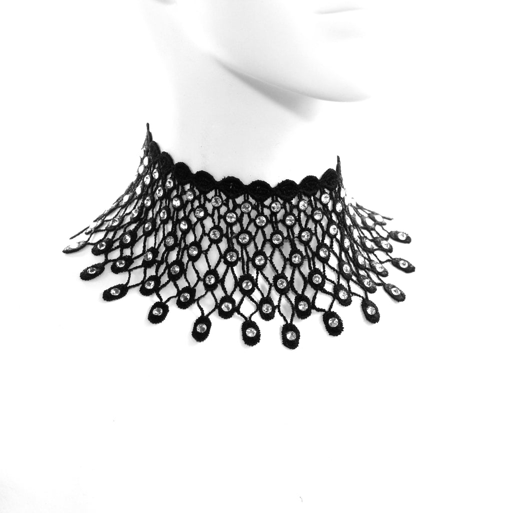 black lace collar necklace with clear rhinestones