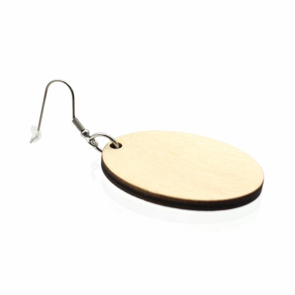 Jewelry Making Kit - 30 Wooden Oval Earrings