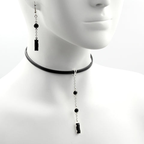 black leather choker with black Swarovski crystal pendant, matching earrings, arthlin jewelry
