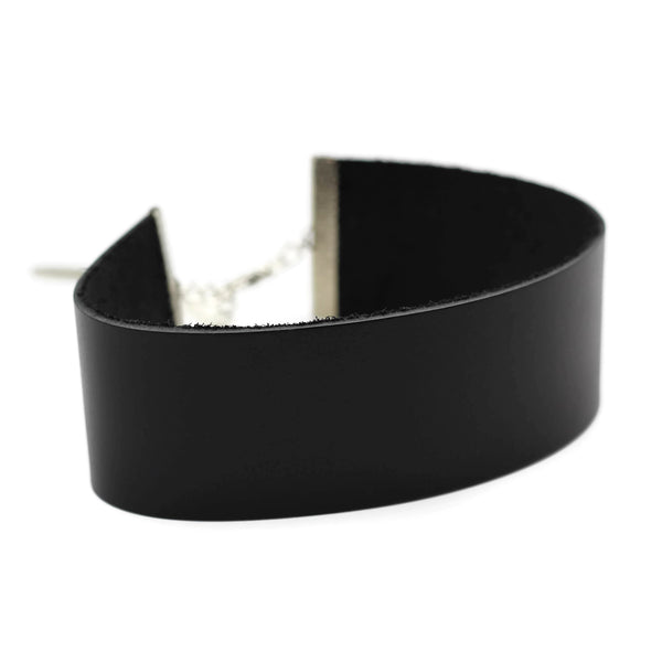 extra wide leather choker collar for women, in black by Arthlin