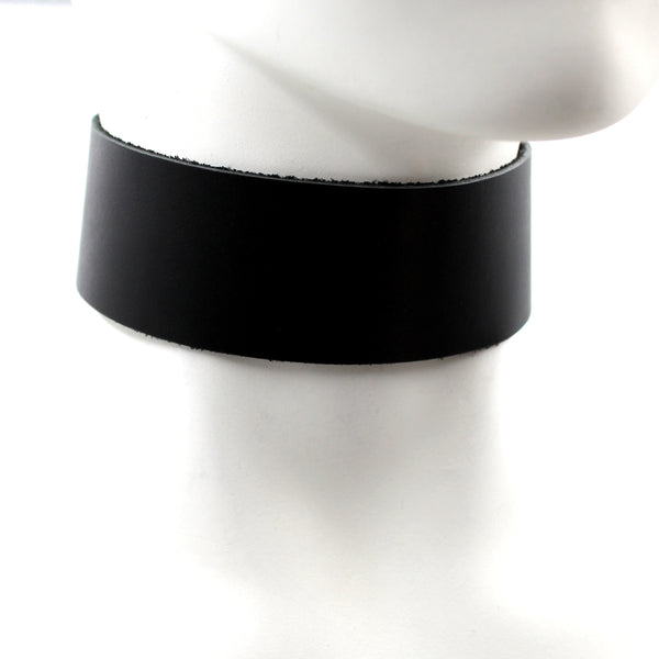 extra wide leather chocker collar necklace in black by Arthlin