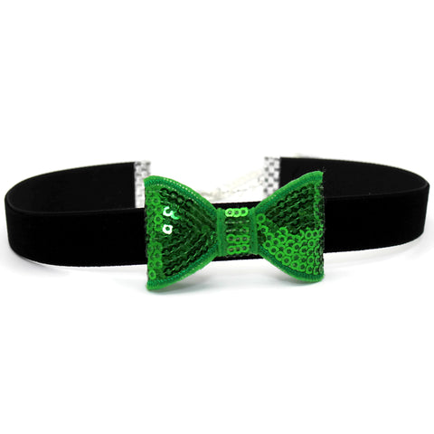 Green bow tie choker for women over black band with lucky clover charm by Arthlin