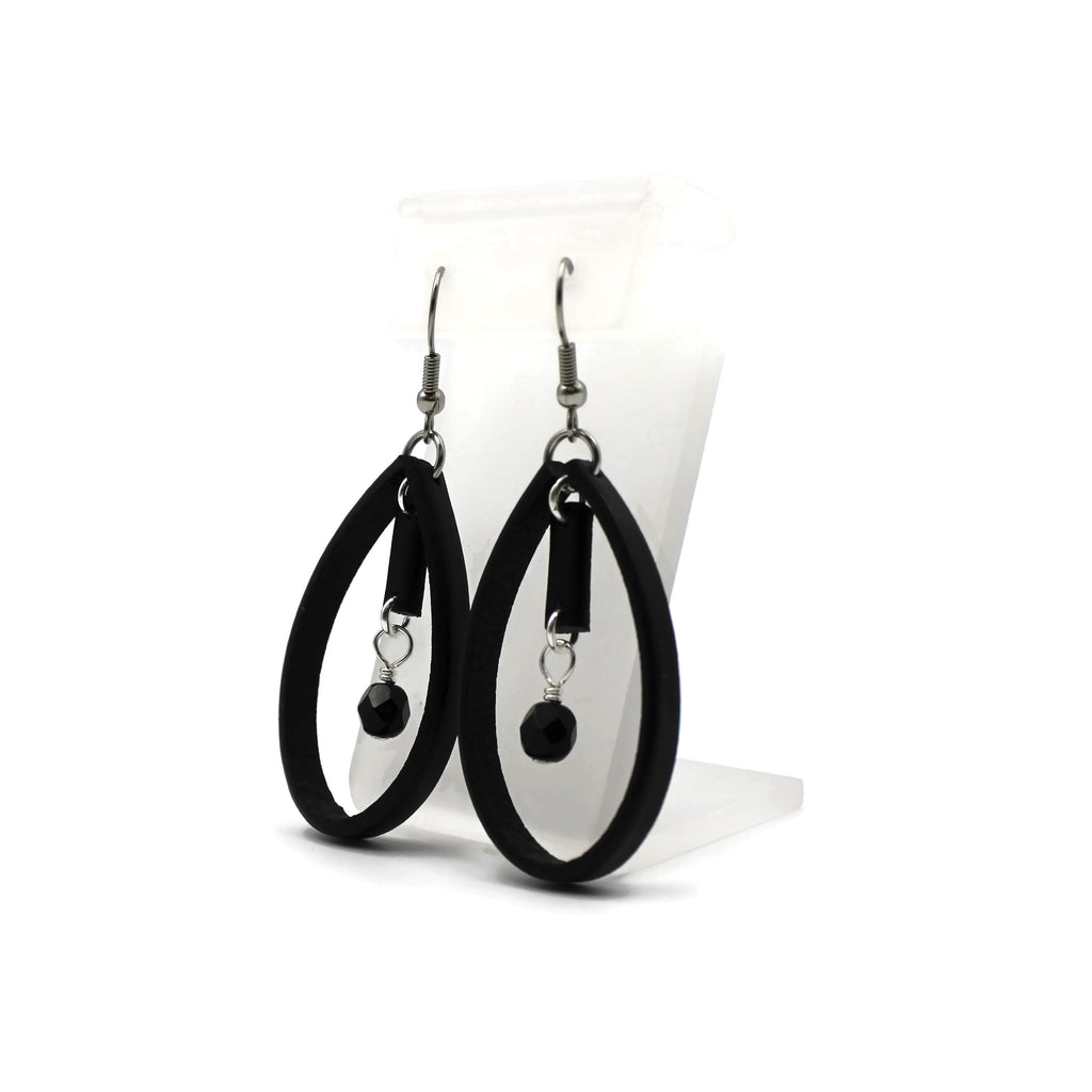 Arthlin Jewelry Black Leather Geo Earrings with Glass Beads
