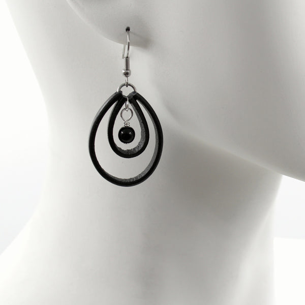 Double Loop Leather Earrings + Bead