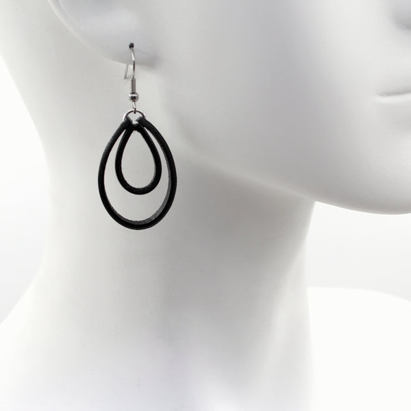 Black leather hoops earrings by Arthlin Jewelry